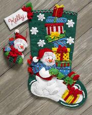 "Bucilla Snowman With Presents ~ 18"" Felt Christmas Stocking Kit #86864, Frosty"
