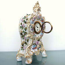 CLOCK Mantel PASSAU DRESSEL KISTER 1890s! Antique Porcelain China German 8 Days!