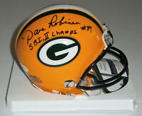 PACKERS Dave Robinson signed mini helmet w/ SB I & II JSA COA AUTO Autographed