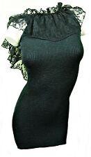 LACE EDGE LOW BACK SHORT BLACK STRETCH SHEATH TUBE DRESS, SIZE UK 8-12, LD284