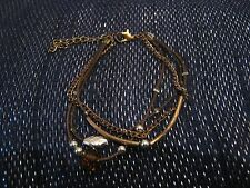 Very pretty dainty bootlace & chain brown bracelet with various beads