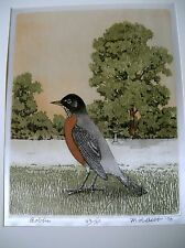 M. R. BEBB ROBIN 1970 103-150 ORIGINAL PRINT COLOR ETCHING ON SILK PICTURE