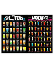 Mixology Shooters 2 Individual Posters! Mixtures Ingredients Measurements 24x36!