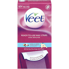 Veet Cold Wax Strips Leg and Body, 40 Ct