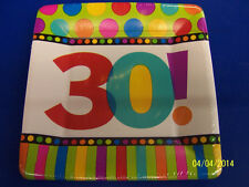 """30th Birthday Dots & Stripes Polka Over the Hill Party 7"""" Square Dessert Plates"""