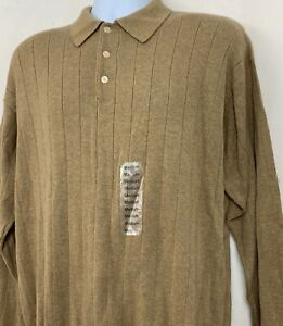 J Ferrar Mens Sweater Beige Tan Ribbed 1/4 Button Up Collar Gold Melange Size M