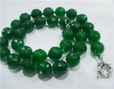 """Green 10mm Faceted Emerald Gemstone Round Beads Necklace 18"""""""