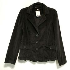 St. John's Bay Women's Black Corduroy Blazer Jacket 3-Button Front Size Medium