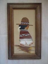 NATIVE AMERICAN INDIAN WALL ART NAVAJO BOY FRAMED SAND PAINTING PAUL GARCIA