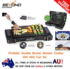 NEW Portable Double (Twin) Gas Camping Butane Burner Cooker + BBQ Tools