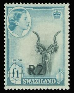 Swaziland 1961 QEII 2r on £1 black & turquoise-blue (Type II) superb MNH. SG 77b