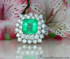 Nobelklasse: Prachtvoller Smaragd Ring mit Brillanten, 6.63 ct. WG-750 ab 22430€