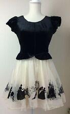 Secret Honey Disney Cinderella shadow Tutu Dress Black velvet HARAJYUKU JAPAN