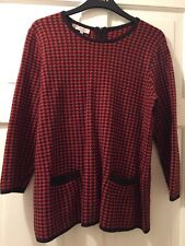 Hobbs Red Black Dog Tooth Wool Blend Soft Feel Jumper Size Medium 12/14