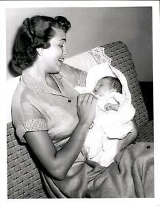 LG920 1955 Original Photo BEBE SHOPP Miss America Holding Newborn Baby Girl