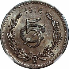 Mexico 5 Centavos Mo 1914, NGC MS64 BN. KM# 422