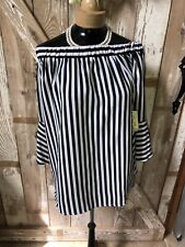 NWT Love Potion WOMEN'S SIZE Medium TOP BLOUSE White And Black Polyester