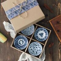 ラーメンボウル  Set of 4 Blue and White Porcelain JAPANESE Bowls with Gift Box