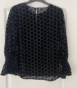 Zara Black Sheer & Velvet Polka Dot Top Size Small