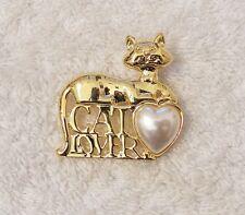 Classic Pin Brooch Cat Lover Feline Kittens Animal Tabby Gold Tone Costume P Jn1
