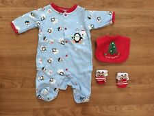 Baby Christmas Outfit Bodysuit with Socks and Bib Unisex Boy Girl Size 3 months