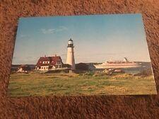 Vintage Postcard Unposted Lighthouse M/S Caribe at Portland Head Light Me