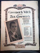 1921 ZEZ CONFREY novelty piano sheet GREENWICH WITCH