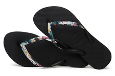 15c5daa7de34 Havaianas Womens Sandals Slim Tropical Straps Black Mistic Size 6
