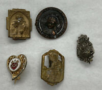 Lot Set of 5 Very Old Antique Vintage Miniature Religious Pins / Small