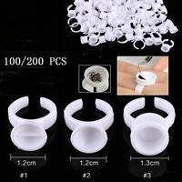 100/200 PCS Disposable Glue Holder Ring Pallet Eyelash Extension Tattoo Pigment
