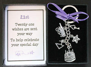 21st GIFT KEYRING BIRTHDAY KEEPSAKE,  BOXED WITH MESSAGE OTHER DESIGNS AVAIL