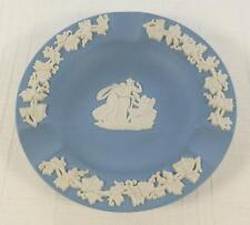 "VTG Wedgwood Miniature Blue Bisque White Jasperware Ashtray 4.5"" England"