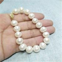"12-13mm South Sea White Baroque Pearl Bracelet 7.5-8"" 14k Gold Clasp Wedding"