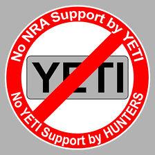 No Yeti Sticker Decal Gun Decal, NRA, USA Hunters, Ban Yeti, Gun Rights, AR-15