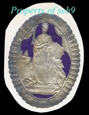 c.1842 QUEEN VICTORIA EMBOSSED FOIL & SILK LINEN TEXTILE LABEL~EARLIEST EXAMPLE!