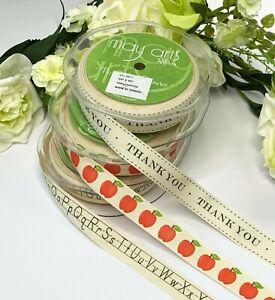 "3/4"" Ivory Cotton Canvas Tape Apples Thank you Teacher Alphabet Ribbon School"