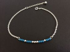 925 Sterling Silver Turquoise Beads Bracelet Solid Silver Ball Gemstone Bar