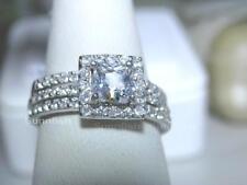 925 STERLING SILVER 3 RING SIMULATED DIAMOND HALO PRINCESS WEDDING SET Size 6