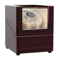 Handmade Wooden Box Single Watch Winder Noise Isolating Rotation Modes For Rolex
