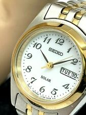 Seiko Women's Solar SUT116 Day Date Two Tone White Dial Watch FOR REPAIR PARTS