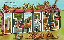 """Arkansas """"The Ozarks"""" Greetings From Large Letters Chrome P/C"""
