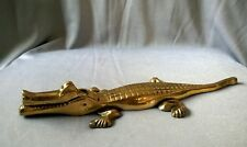 Vintage Solid Brass Alligator Crocodile Nut Cracker Metal Figurine
