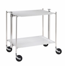 Platex Textable Foldable Trolley 2 Shelves Acrylic Chrome/White BNIB