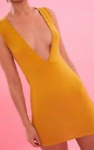 Pretty Little Thing Mustard Extreme Plunge Bodycon Dress Size 8 New with Tags