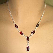Granat Halskette Silber 925 Collier 40cm Kette  6 Cabochon Edelsteine Rot