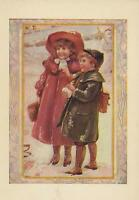 ANTIQUE VICTORIAN GIRL RED DRESS HAT BOY WINTER SNOWBALL SCHOOL CHILDREN PRINT