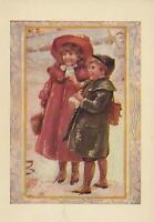 ANTIQUE VICTORIAN GIRL RED DRESS HAT BOY WINTER SNOWBALL SCHOOL CHILDREN PRINT