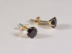 New Ladies 9ct Yellow Gold Black CZ  Studs Earrings 5mm Hallmarked