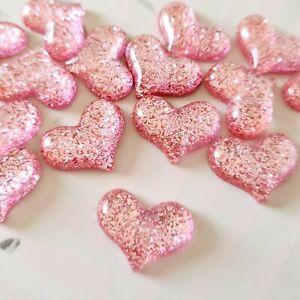 Pack of 15 Pink Glitter Heart Flatbacks, Resins for Bow Making, Embellishment