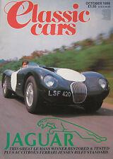 Classic Cars 10/1986 featuring AC Aceca-Bristol, Jensen, Ferrari Dino, Riley